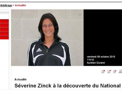 Le site de la FFF pr閟ente S関erine Zinck, la possible future premi鑢e arbitre centrale en Ligue 1.