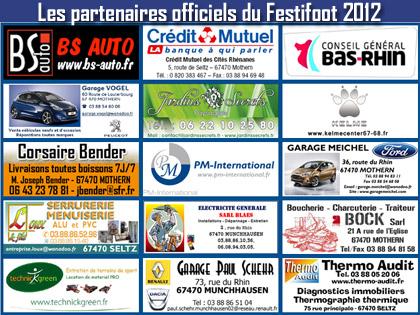 Les 15 premiers partenaires officiels du Festifoot 2012.