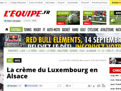 Pour la seconde ann閑 cons閏utive, le Festifoot s'affiche sur L'Equipe.fr.